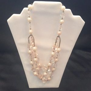 Jewelry - Ivory/light pink pearl and crystal (faux) necklace